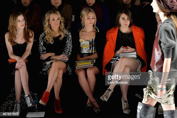 Actresses Anna Kendrick singer Carrie Underwood AnnaSophia Robb and Zosia Mamet attend Rebecca Minkoff fashion show during MercedesBenz Fashion Week...