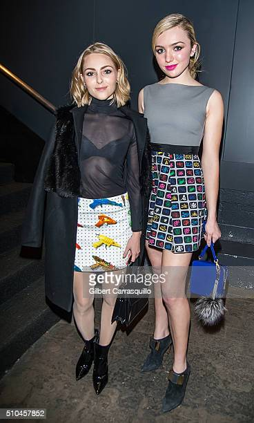 Actresses AnnaSophia Robb and Peyton List are seen outside the Jeremy Scott Fall 2016 fashion show during New York Fashion Week The Shows at The Arc...
