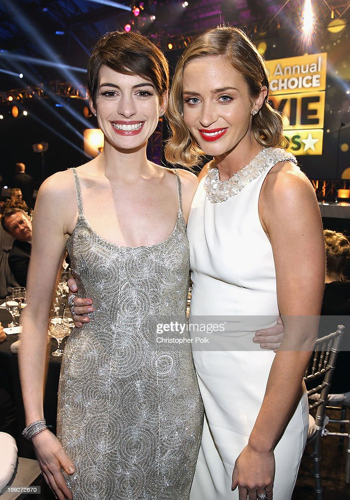 Actresses <a gi-track='captionPersonalityLinkClicked' href=/galleries/search?phrase=Anne+Hathaway+-+Actress&family=editorial&specificpeople=11647173 ng-click='$event.stopPropagation()'>Anne Hathaway</a> and <a gi-track='captionPersonalityLinkClicked' href=/galleries/search?phrase=Emily+Blunt&family=editorial&specificpeople=213480 ng-click='$event.stopPropagation()'>Emily Blunt</a> attend the 18th Annual Critics' Choice Movie Awards held at Barker Hangar on January 10, 2013 in Santa Monica, California.