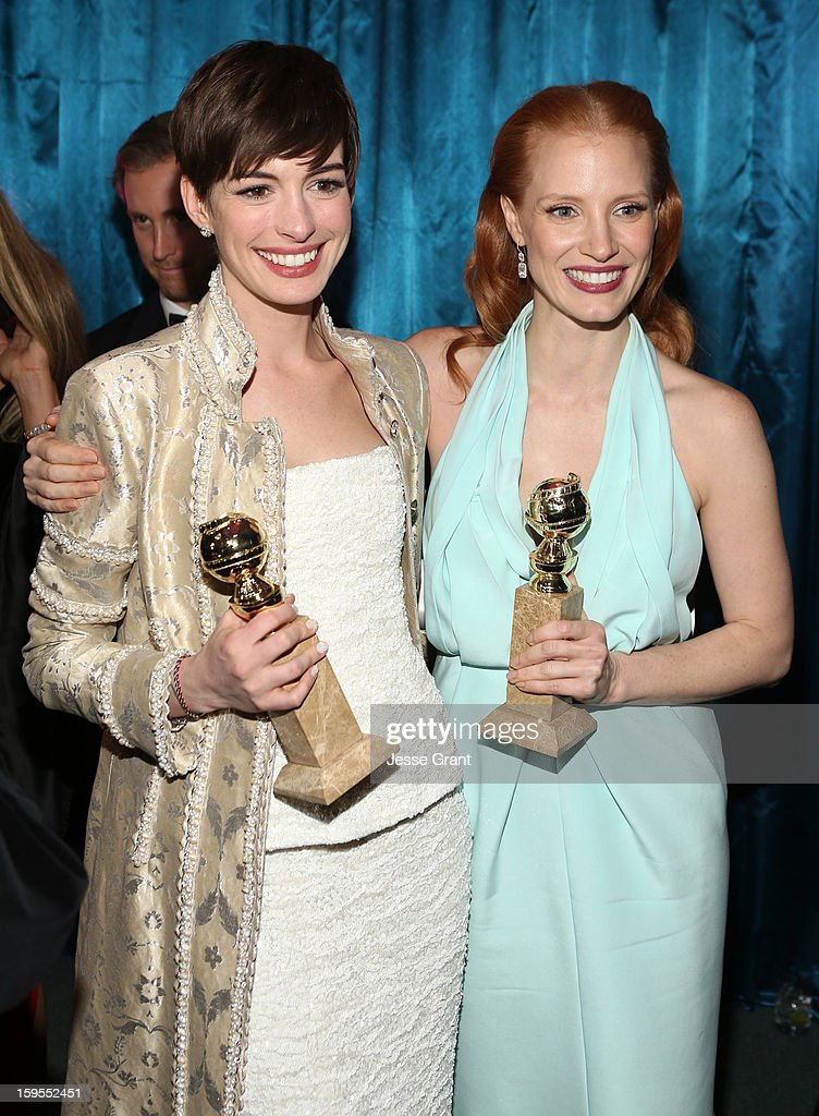 Actresses Anne Hathaway and Jessica Chastain attend the NBCUniversal Golden Globes viewing and after party held at The Beverly Hilton Hotel on January 13, 2013 in Beverly Hills, California.