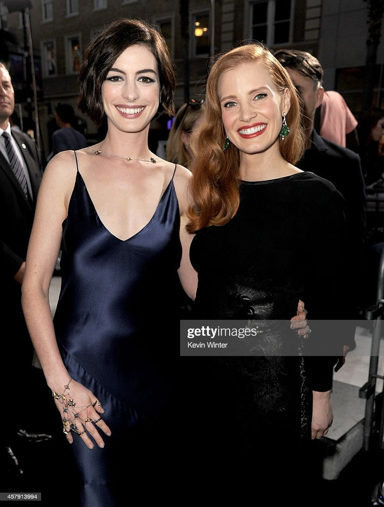 Actresses Anne Hathaway (L) and Jessica Chastain attend the premiere of Paramount Pictures' 'Interstellar' at TCL Chinese Theatre IMAX on October 26, 2014 in Hollywood, California.