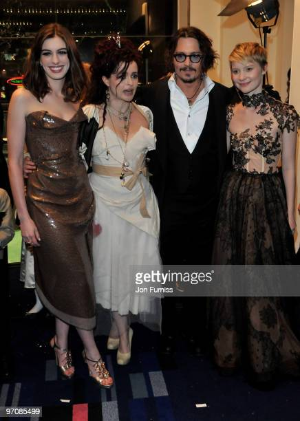 Actresses Anne Hathaway Helena Bonham Carter actor Johnny Depp and actress Mia Wasikowska attend the Royal World Premiere of Tim Burton's 'Alice In...