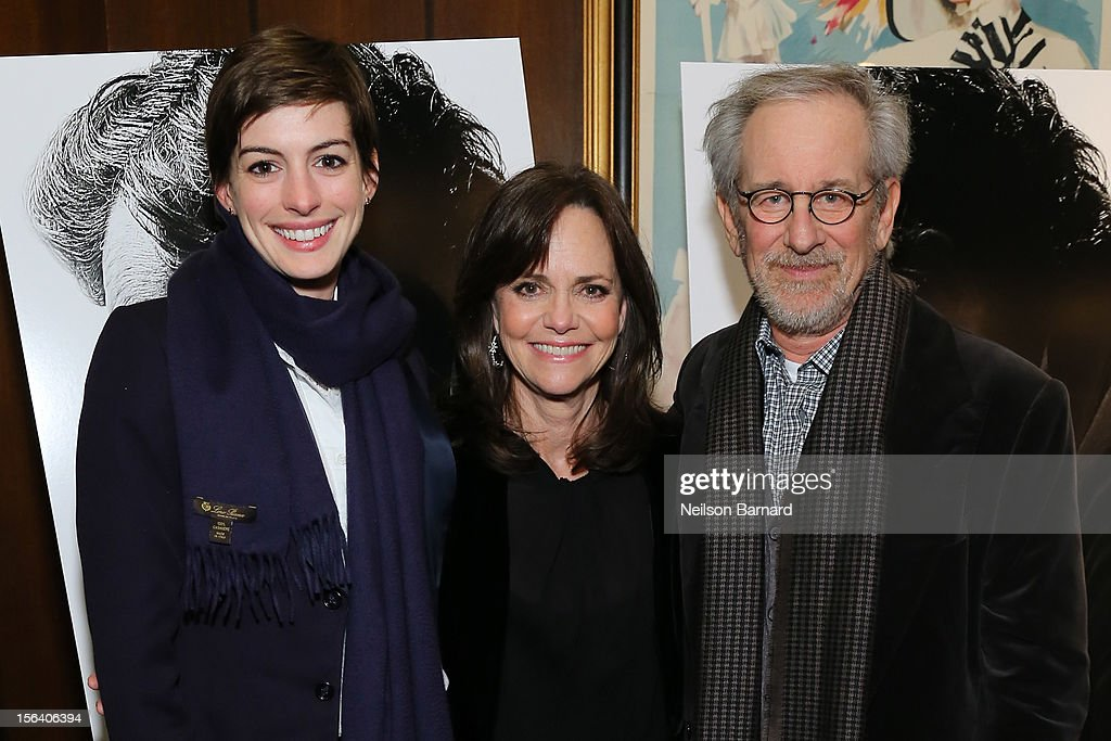 Actresses <a gi-track='captionPersonalityLinkClicked' href=/galleries/search?phrase=Anne+Hathaway+-+Actress&family=editorial&specificpeople=11647173 ng-click='$event.stopPropagation()'>Anne Hathaway</a>, <a gi-track='captionPersonalityLinkClicked' href=/galleries/search?phrase=Sally+Field&family=editorial&specificpeople=206350 ng-click='$event.stopPropagation()'>Sally Field</a> and director <a gi-track='captionPersonalityLinkClicked' href=/galleries/search?phrase=Steven+Spielberg&family=editorial&specificpeople=202022 ng-click='$event.stopPropagation()'>Steven Spielberg</a> attend the special screening of <a gi-track='captionPersonalityLinkClicked' href=/galleries/search?phrase=Steven+Spielberg&family=editorial&specificpeople=202022 ng-click='$event.stopPropagation()'>Steven Spielberg</a>'s Lincoln at the Ziegfeld Theatre on November 14, 2012 in New York City.