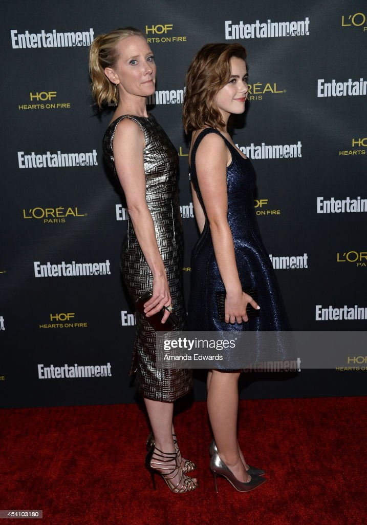 Actresses Anne Heche (L) and Kiernan Shipka arrive at the 2014 Entertainment Weekly Pre-Emmy Party at Fig & Olive Melrose Place on August 23, 2014 in West Hollywood, California.