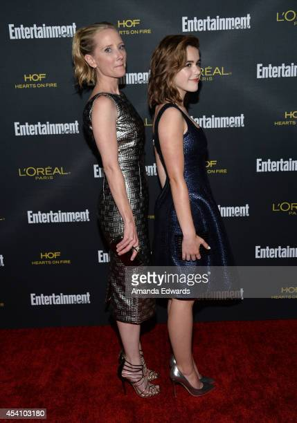 Actresses Anne Heche and Kiernan Shipka arrive at the 2014 Entertainment Weekly PreEmmy Party at Fig Olive Melrose Place on August 23 2014 in West...