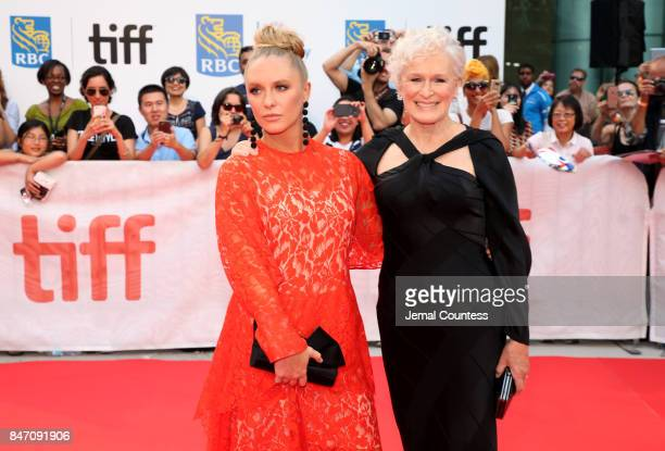 Actresses Annie Starke and Glenn Close attend the 'The Wife' premiere during the 2017 Toronto International Film Festival at Roy Thomson Hall on...