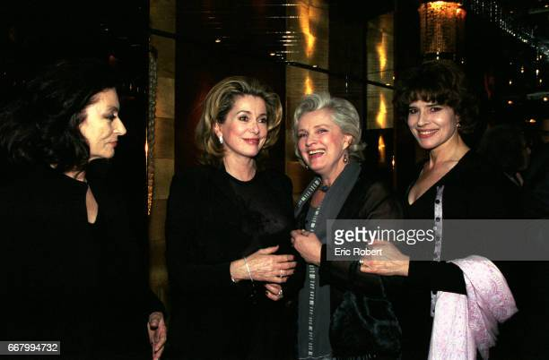 Actresses Anouk Aimee Catherine Deneuve MarieChristine Barrault and Fanny Ardant attend a benefit party for the Association pour la Vie Espoir contre...