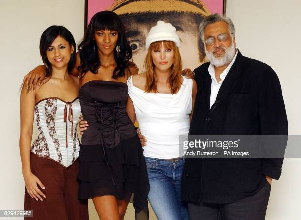 Actresses Aruna Shields Judi Shekoni and Catalina Guirado with film director Jag Mundhra during a photocall for their new film Private Moments held...