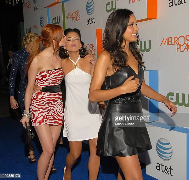 Actresses Ashlee SimpsonWentz Stephanie Jacobsen and Jessica Lucas arrive at the 'Melrose Place' Los Angeles Premiere Party on August 22 2009 in Los...
