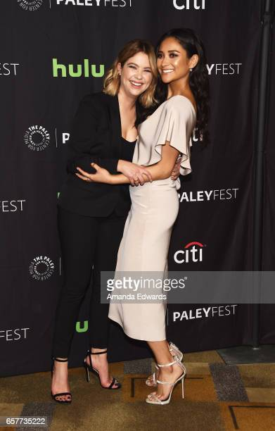 Actresses Ashley Benson and Shay Mitchell attend The Paley Center For Media's 34th Annual PaleyFest Los Angeles 'Pretty Little Liars' screening and...