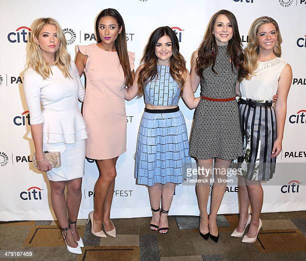 Actresses Ashley Benson Shay Mitchell Lucy Hale Troian Bellisario Sasha Pieterse attend The Paley Center for Media's PaleyFest 2014 Honoring 'Pretty...