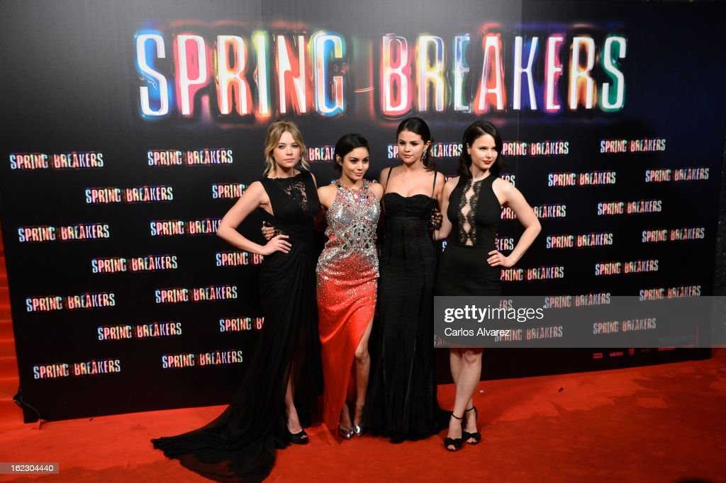 Actresses <a gi-track='captionPersonalityLinkClicked' href=/galleries/search?phrase=Ashley+Benson&family=editorial&specificpeople=594114 ng-click='$event.stopPropagation()'>Ashley Benson</a>, Vanessa Hudgens, <a gi-track='captionPersonalityLinkClicked' href=/galleries/search?phrase=Selena+Gomez&family=editorial&specificpeople=4295969 ng-click='$event.stopPropagation()'>Selena Gomez</a> and <a gi-track='captionPersonalityLinkClicked' href=/galleries/search?phrase=Rachel+Korine&family=editorial&specificpeople=4495798 ng-click='$event.stopPropagation()'>Rachel Korine</a> attend the 'Spring Breakers' premiere at the Callao cinema on February 21, 2013 in Madrid, Spain.