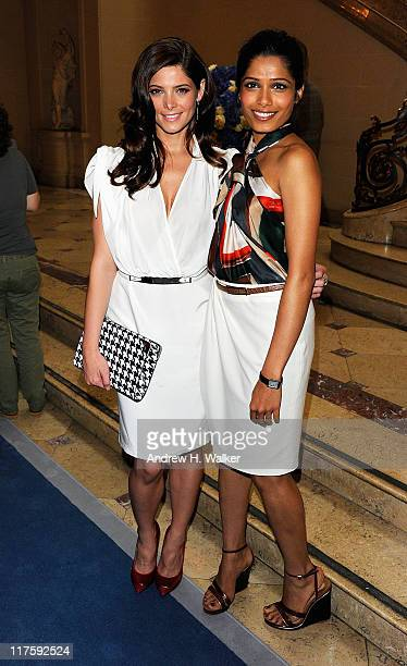 Actresses Ashley Greene and Freida Pinto attend Salvatore Ferragamo's Women's Resort 2012 Collection at James B Duke Mansion on June 28 2011 in New...