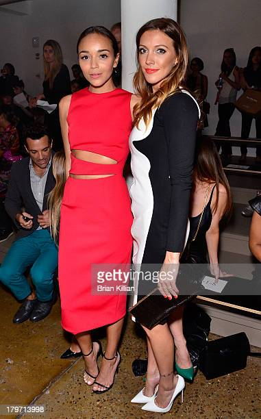 Actresses Ashley Madekwe and Katie Cassidy attend the Cushnie Et Ochs show during Spring 2014 MercedesBenz Fashion Week at Milk Studios on September...