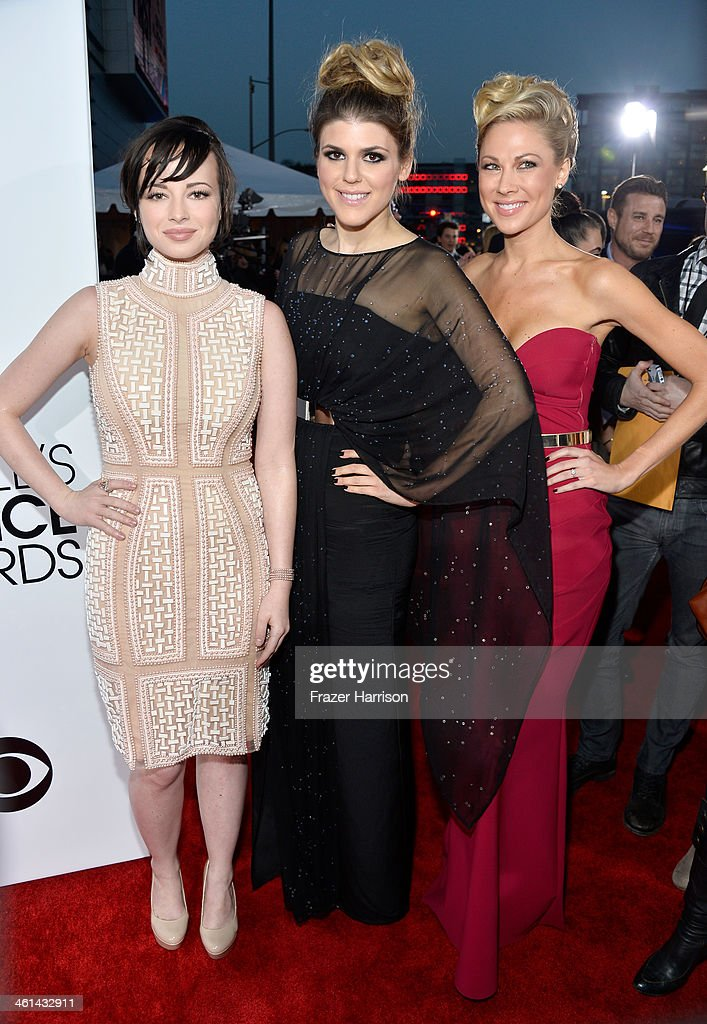 Actresses Ashley Rickards Molly Tarlov and Desi Lydic attend The 40th Annual People's Choice Awards at Nokia Theatre LA Live on January 8 2014 in Los...