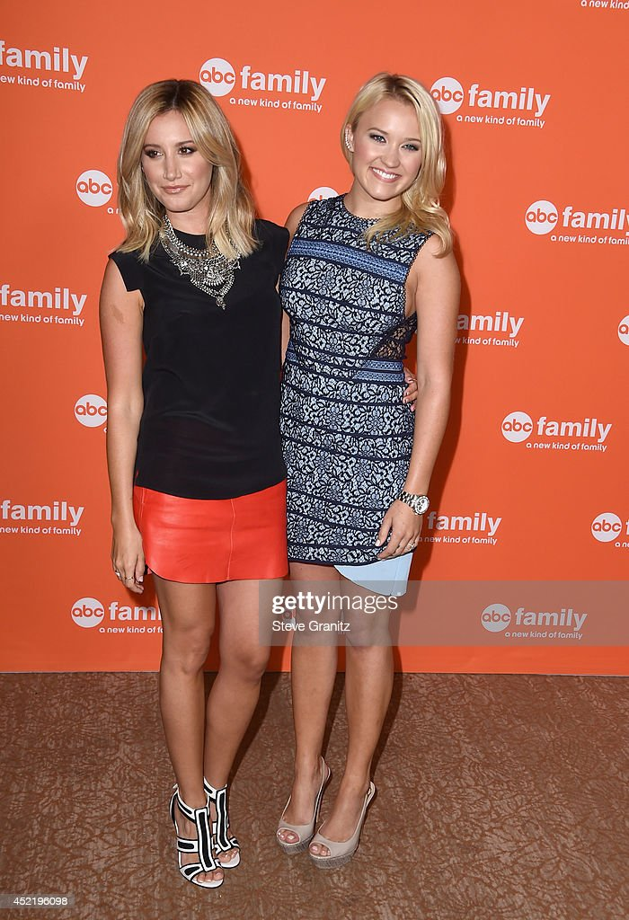 Actresses Ashley Tisdale and Emily Osment attend the Disney/ABC Television Group 2014 Television Critics Association Summer Press Tour at The Beverly Hilton Hotel on July 15, 2014 in Beverly Hills, California.