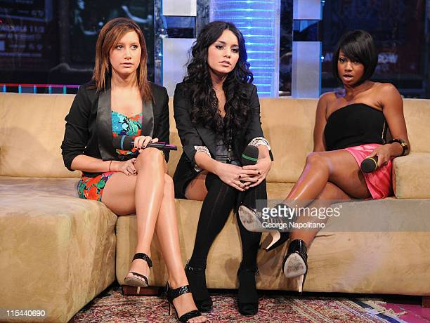 Actresses Ashley Tisdale Vanessa Hudgens and Monique Coleman visit MTV's 'TRL' at MTV Studios in Times Square on October 21 2008 in New York City