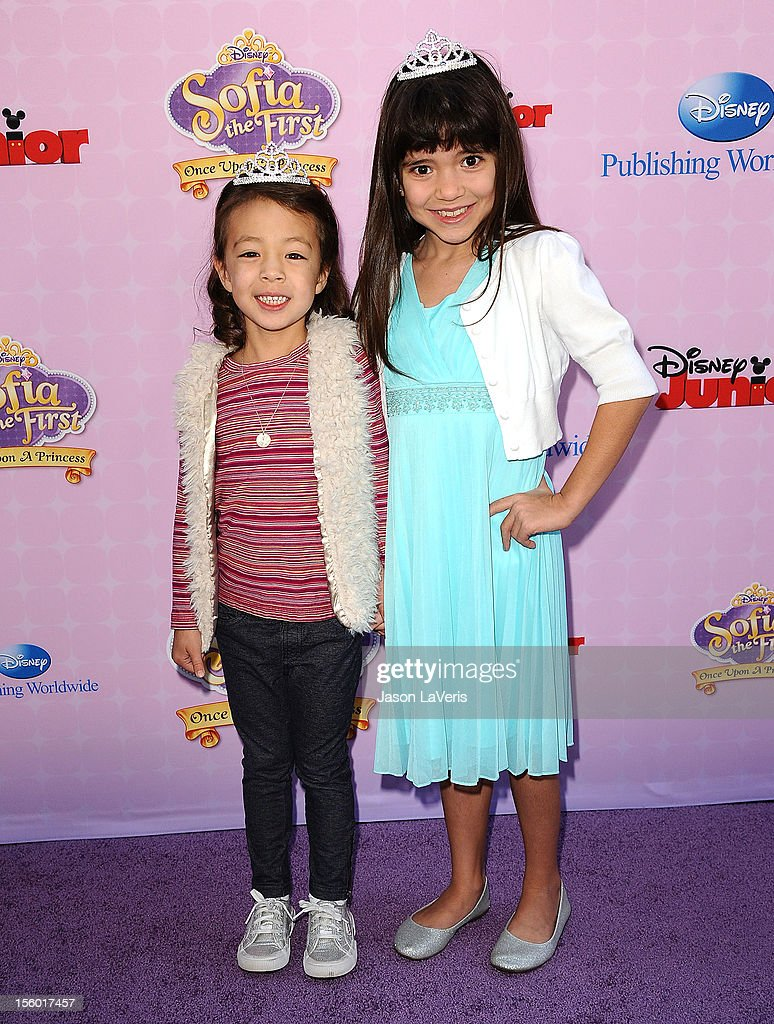Actresses Aubrey Anderson-Emmons and Chloe Noelle attend the premiere of 'Sofia The First: Once Upon a Princess' at Walt Disney Studios on November 10, 2012 in Burbank, California.