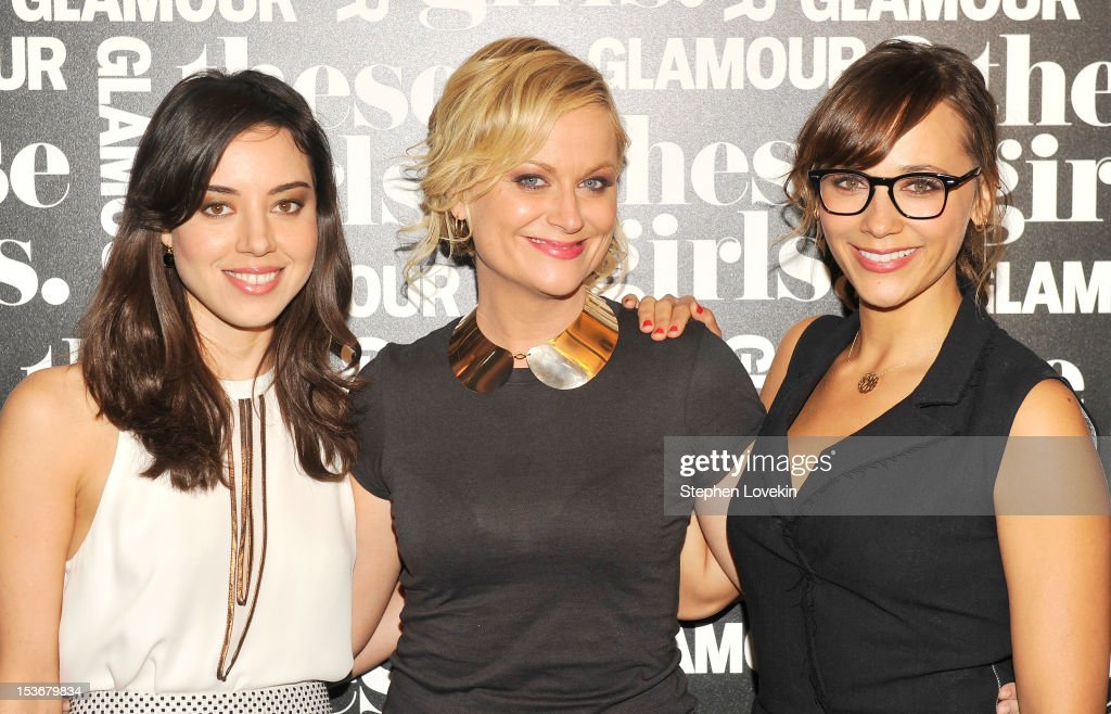 Actresses Aubrey Plaza, Amy Poehler, and Rashida Jones of 'Parks and Recreation' attend Glamour Presents 'These Girls' at Joe's Pub on October 8, 2012 in New York City.