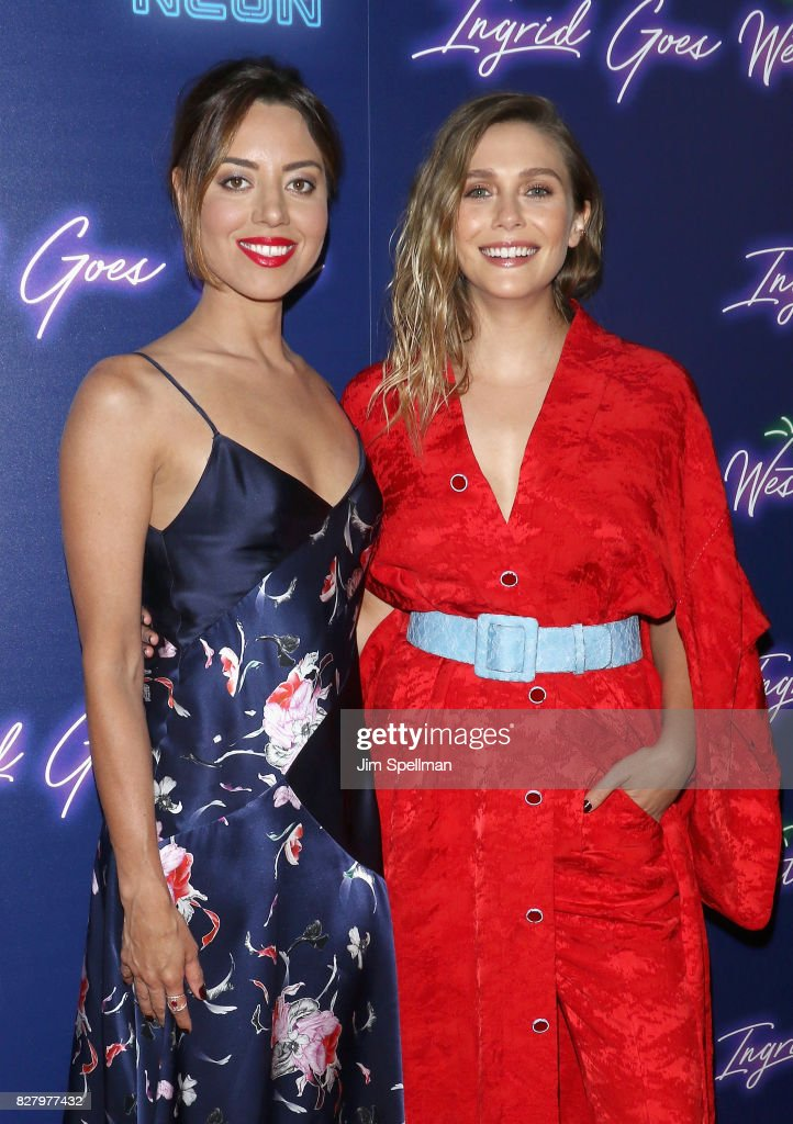 Actresses Aubrey Plaza and Elizabeth Olsen attend The New York premiere of 'Ingrid Goes West' hosted by Neon at Alamo Drafthouse Cinema on August 8, 2017 in the Brooklyn borough of New York City.