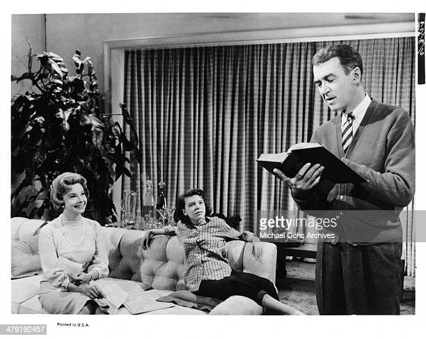 Actresses Audrey Meadows Charla Doherty and actor James Stewart talk in a scene from the movie 'Take Her She's Mine' circa 1963