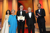 Actresses Audrey Tautou Emmanuelle Riva and director Michael Haneke with the Palme D'Or for 'Amour' and actors JeanLouis Trintignant and Adrien Brody...