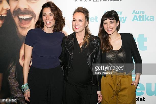 Actresses Aure Atika Audrey Lamy and Vanessa Guide attend the 'Tout pour etre heureux' Premiere at UGC Cine Cite Bercy on April 5 2016 in Paris France