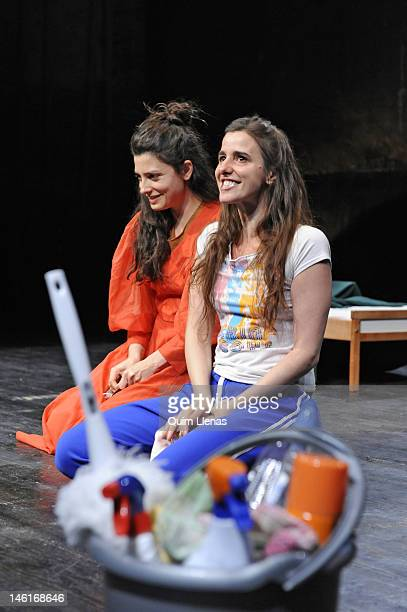 Actresses Barbara Lennie and Fernanda Orazi perform on a press preview of 'Las criadas' theatre play on stage at Cuarta Pared Theatre on June 1 2012...