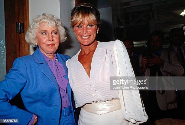 Actresses Barbara Stanwyck and Linda Evans attend a private showing of 'The Dynasty Collection' on Sept 19 1987 in Los Angeles California The showing...