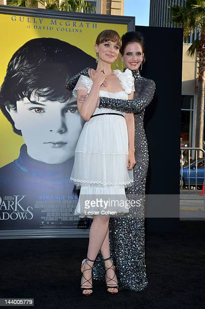 Actresses Bella Heathcote and Eva Green arrive at the Los Angeles premiere of 'Dark Shadows' held at Grauman's Chinese Theatre on May 7 2012 in...
