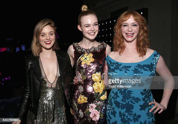 Actresses Bella Heathcote Elle Fanning and Christina Hendricks attend 'The Neon Demon' Los Angeles Premiere @Cinespia on June 14 2016 in Hollywood...