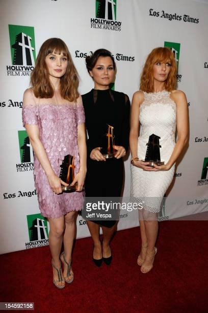 Actresses Bella Heathcote Samantha Barks and Kelly Reilly attend the 16th Annual Hollywood Film Awards Gala presented by The Los Angeles Times held...