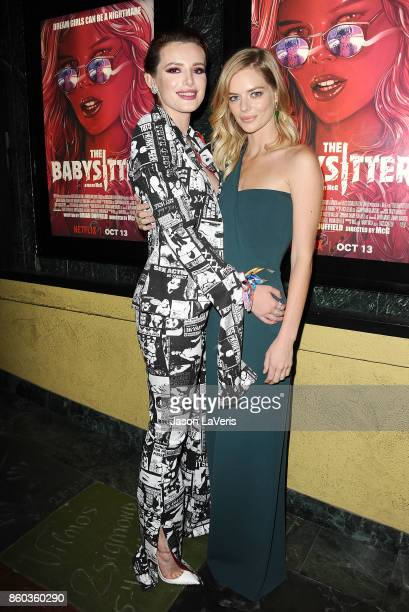 Actresses Bella Thorne and Samara Weaving attend the premiere of 'The Babysitter' at the Vista Theatre on October 11 2017 in Los Angeles California