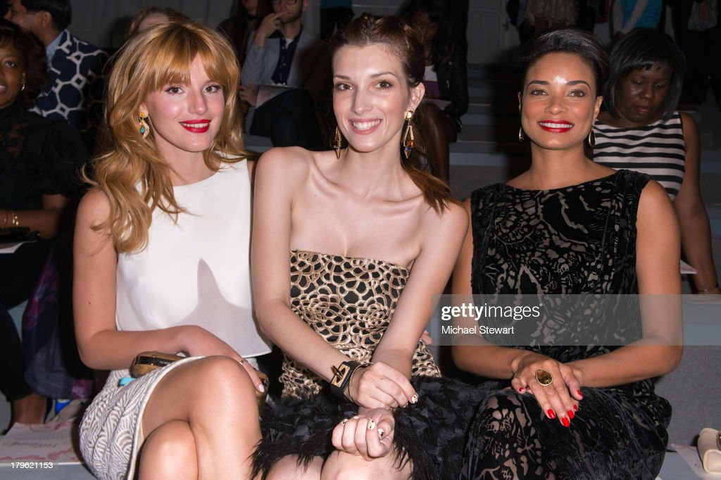 Actresses Bella Thorne, Dani Thorne and Rochelle Aytes attend the Tadashi Shoji show during Spring 2014 Mercedes-Benz Fashion Week at The Stage at Lincoln Center on September 5, 2013 in New York City.