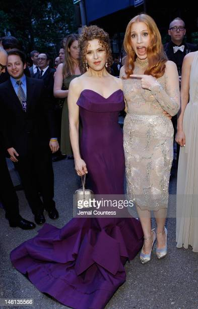 Actresses Bernadette Peters and Jessica Chastain attend the 66th Annual Tony Awards at The Beacon Theatre on June 10 2012 in New York City