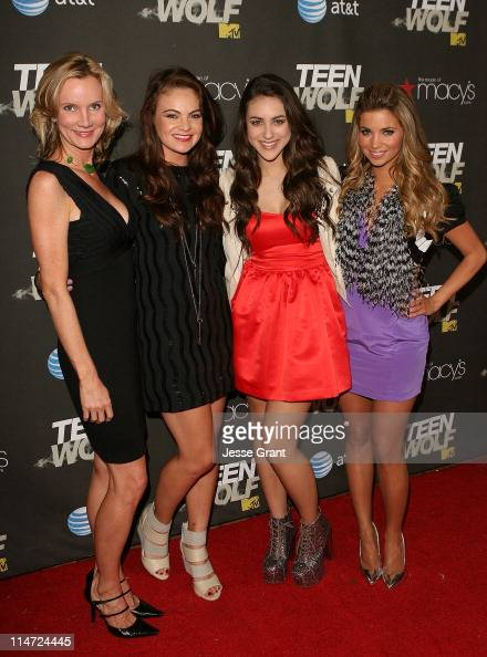 Actresses Beth Littleford Caitlin Crosby Ciena Rae and Amber Lancaster arrive at the series premiere of MTV's 'Teen Wolf' at The Roosevelt Hotel on...