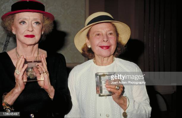 Actresses Bette Davis and Ruth Gordon receive a Crystal Award on June 1 1983 in Beverly Hills California
