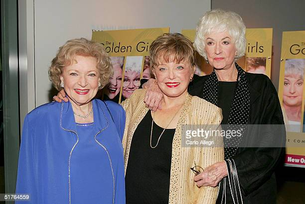 Actresses Betty White Rue McClanahan and Bea Arthur arrive for the DVD release party for 'The Golden Girls' the first season November 18 2004 in Los...
