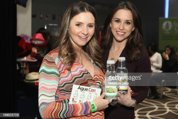 Actresses Beverley Mitchell and Lacey Chabert attend Kari Feinstein's PreGolden Globes Style Lounge at the W Hollywood on January 11 2013 in...