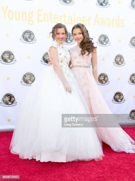 Actresses Bianca and Chiara D'Ambrosio attend the 2nd Annual Young Entertainer Awards at The Globe Theatre on March 19 2017 in Universal City...