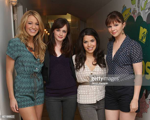 Actresses Blake Lively Alexis Bledel America Ferrera and Amber Tamblyn visit MTV's 'TRL' at MTV studios on August 4 2008 in New York City