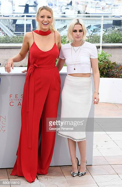 Actresses Blake Lively and Kristen Stewart attend the 'Cafe Society' photocall during the 69th annual Cannes Film Festival at Palais des Festivals on...