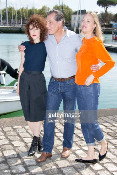Actresses Blandine Bellavoir Actor Samuel Labarthe and Actress Elodie Frenck attend 'Petits Meutres d'Agatha Christie' Photocall during 19th Festival...
