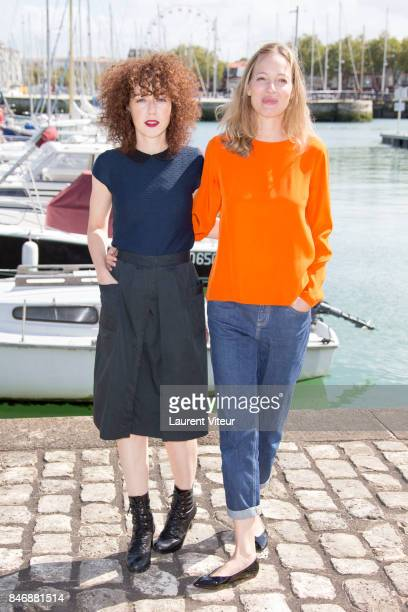 Actresses Blandine Bellavoir and Elodie Frenck attend 'Petits Meutres d'Agatha Christie' Photocall during 19th Festival Of TV Fiction on September 14...