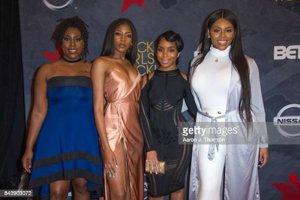 Actresses Blessin Giraldo Cori Grainger Gari McIntyre and Tayla Solomon attends Black Girls Rock at New Jersey Performing Arts Center on August 5...