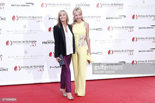 US actresses Bo Derek and Camilla de Bourbon des Deux Siciles pose during the opening ceremony of the 55th MonteCarlo Television Festival on June 13...