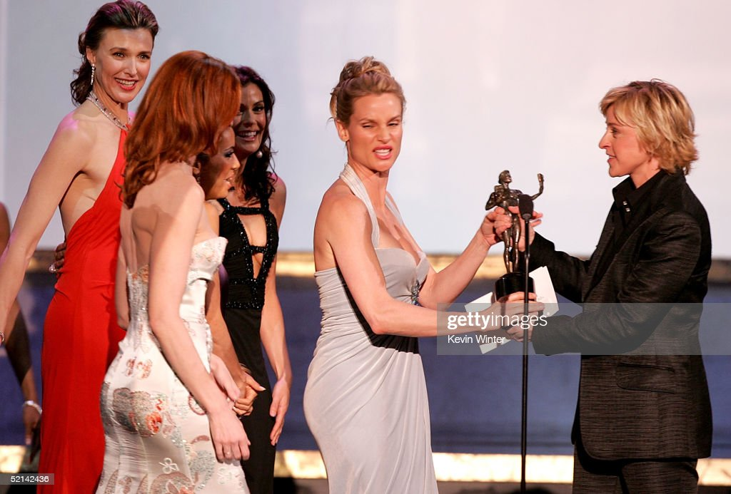 Actresses Brenda Strong, Felicity Huffman, Teri Hatcher, and Marcia Cross accept their award from <a gi-track='captionPersonalityLinkClicked' href=/galleries/search?phrase=Ellen+DeGeneres&family=editorial&specificpeople=171367 ng-click='$event.stopPropagation()'>Ellen DeGeneres</a> for Outstanding Performance by an Ensemble in a Comedy Series for 'Desperate Housewives' onstage during the 11th Annual Screen Actors Guild Awards at the Los Angeles Shrine Exposition Center on February 5, 2005 in Los Angeles, California.
