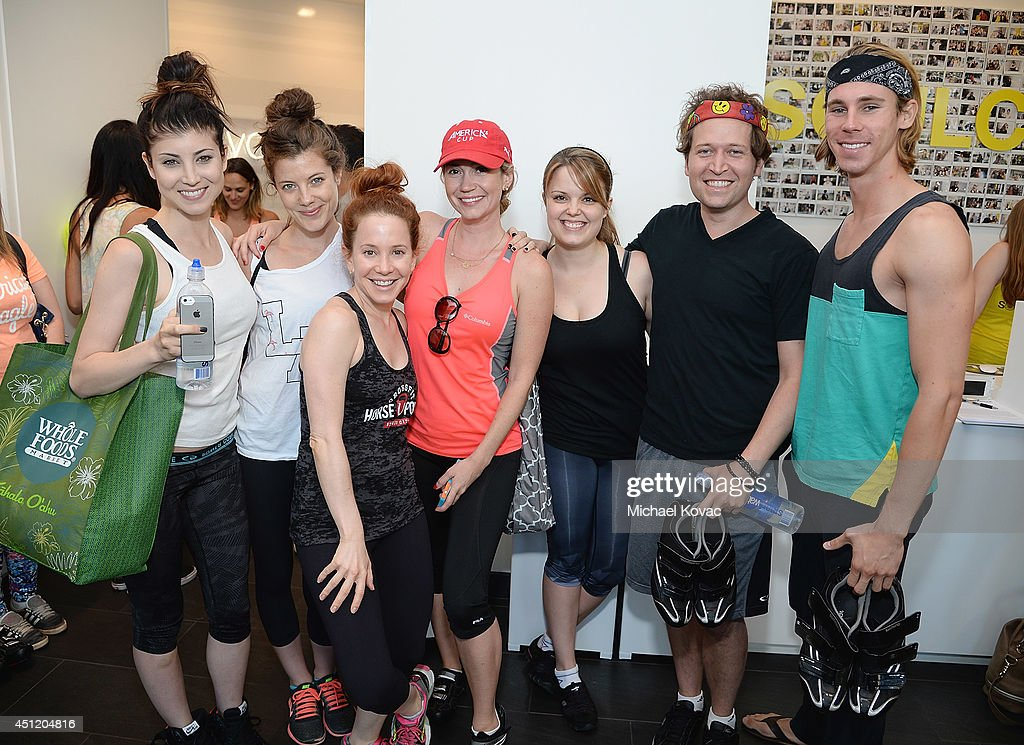 Actresses Briana Cuoco, Devin Kelley, Amy Davidson, Ashley Jones and friends attend the launch of Wheels for Seals benefiting The Humane Society Of The United States at Soul Cycle Beverly Hills on June 23, 2014 in Beverly Hills, California.