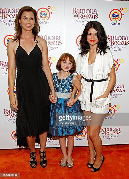 Actresses Bridget Moynahan Joey King and Selena Gomez attend the premiere of 'Ramona and Beezus' presented by Tide with ActiLift at Madison Square...