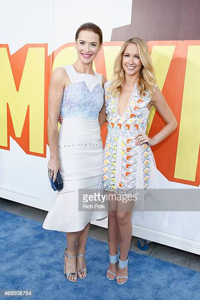 Actresses Bridget Regan and Anna Camp attend The 2015 MTV Movie Awards at Nokia Theatre LA Live on April 12 2015 in Los Angeles California